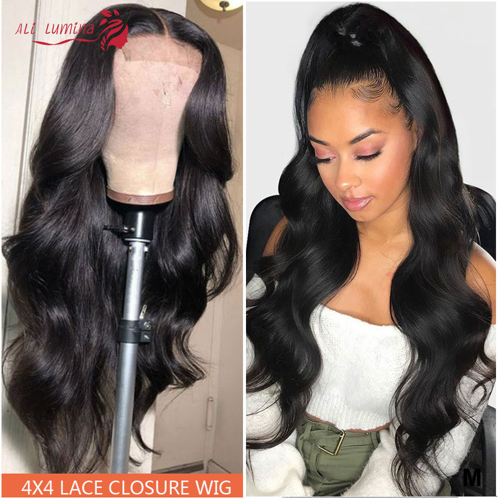 4x4 Closure Wigs Lace Closure Wig 180% Remy Ali Lumina Hair 30 Inch Lace Wig Brazilian Human Hair Wigs Closure Wig Body Wave Wig