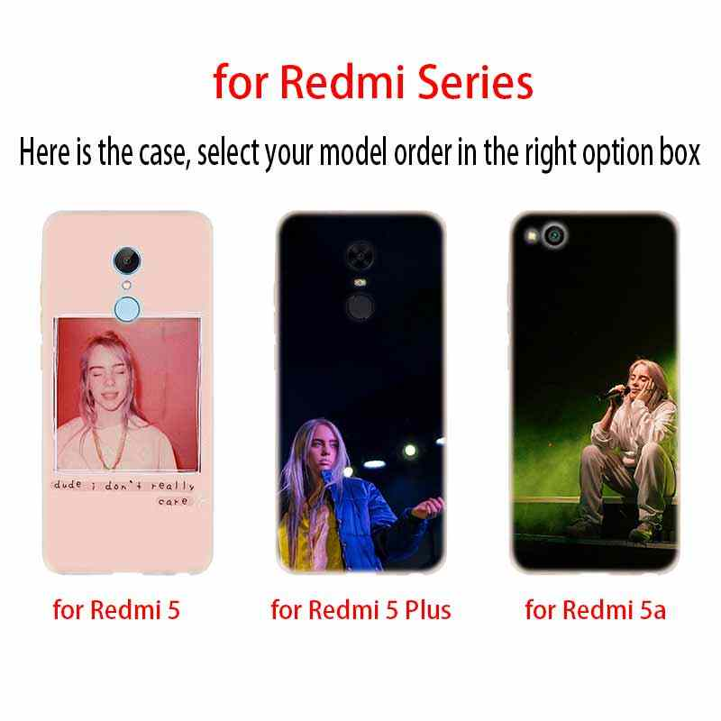 Hot Billie Eilish Cantor da Música capa soft Case TPU Silicone Para Xiaomi Redmi 3 4X 5 Plus 7a 5a 4a s2 6a 6 Nota 5 6 4 7 5 K20 Pro