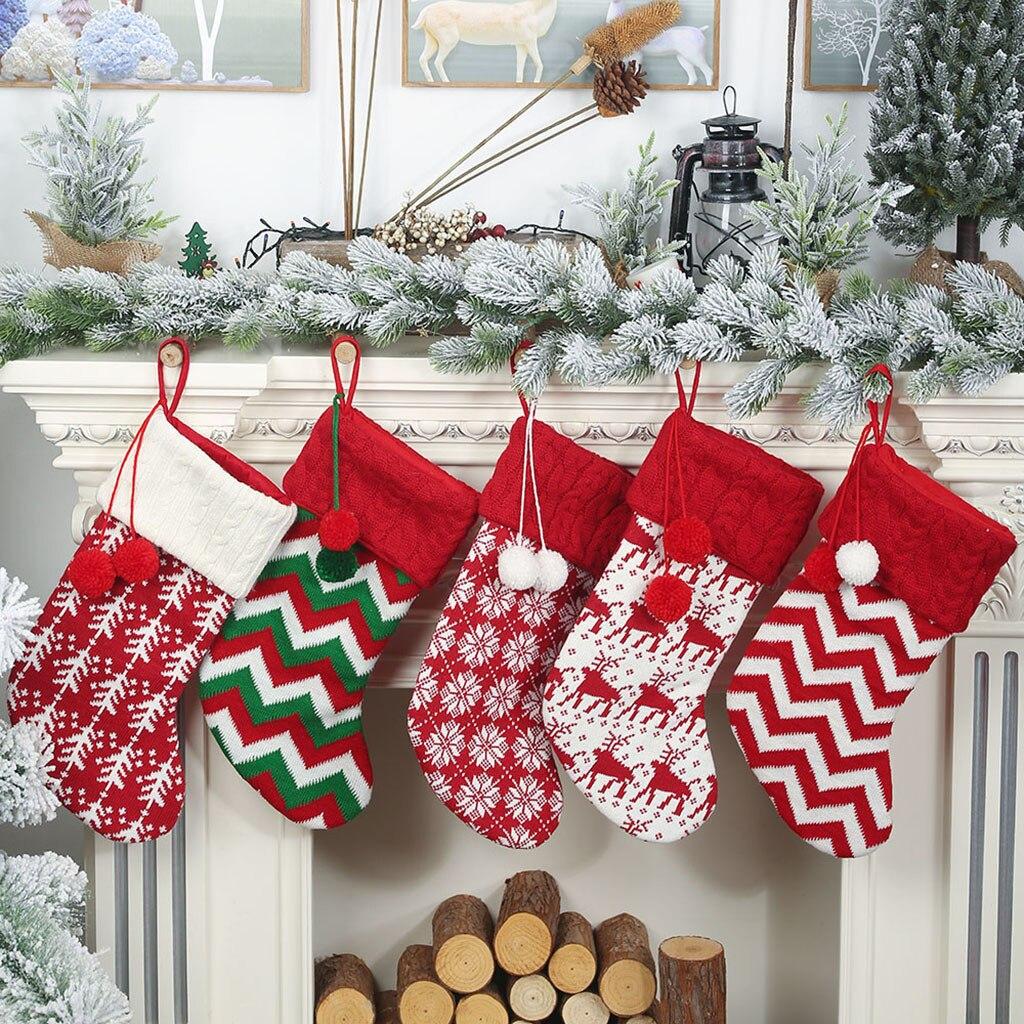 Большие рождественские чулки, подарки, тканевые носки Санта-Клауса, Рождественский милый мешок для подарков для детей, каминная елка