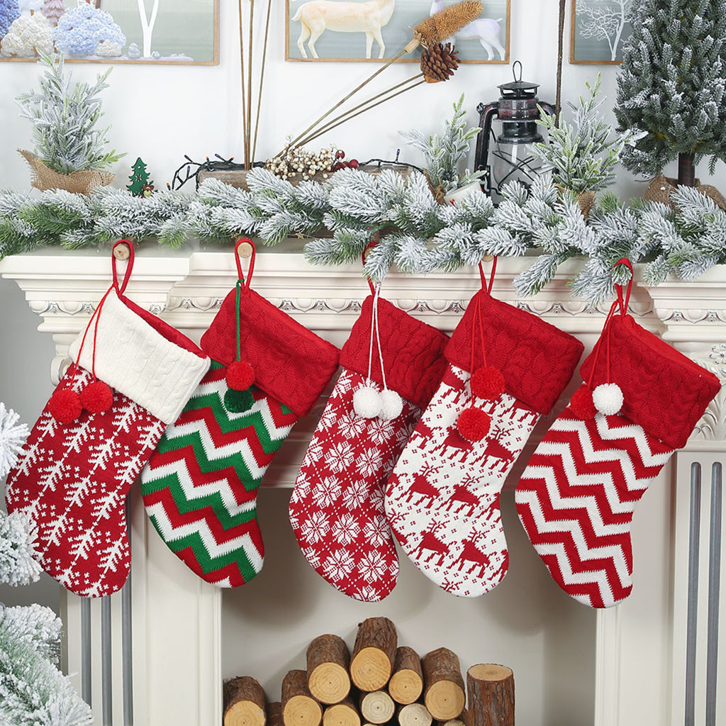 Large Christmas Stockings Gifts Cloth Santa Elk Socks Xmas Lovely Gift Bag For Children Fireplace Tree Christmas Decoration 7P