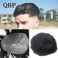 Мужской парик QHP 100% индийские человеческие волосы мужской капиллярный протез V-образная петля заменяемые Мужские t-системы 6 дюймов Натураль...