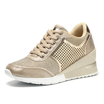 New Brand Lightweight Toning Shoes for Women Breathable Increase 6.5cm Wedge High Heeld Sneakers Ladies Spror Walking Shoes 4 5 cm height toning shoes for women fitness walking slimming workout sneakers wedge platform air swing shoes for female