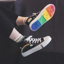Tênis feminino borracha vulcanizada, calçado feminino retrô lona arco-íris