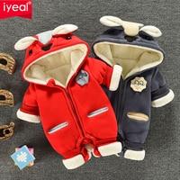 IYEAL Neugeborenen Baby Junge Strampler Winter Baby Mädchen Kleidung Verdicken Cartoon Tier Schneeanzug Warme Fleece Hoodie Infant Overall 0  24M-in Strampelanzüge aus Mutter und Kind bei