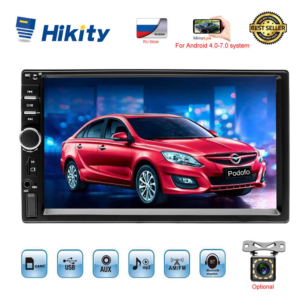 "Hikity 7018B 2 Din Auto Radio 7 ""Hd Touch Screen Stereo 2din Bluetooth Multimedia MP5 Speler Usb Auto Radio auto Backup Monitor"