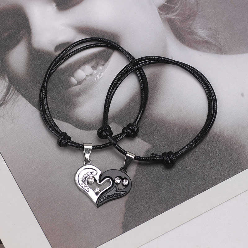DIY Colored Leather Bracelet  Adjustable Rope For Men Women Black silver Heart-shaped Pendant Bracelets Cute Charm Jewelry Gifts
