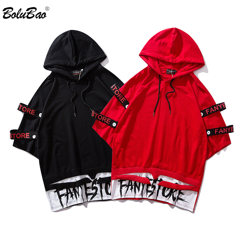 BOLUBAO Brand Men's Fashion T Shirt Loose New Men Hip Hop High Street Style Male Stitching Hooded T Shirts OverSize Tops