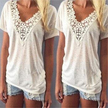 Camiseta de verano con flor de encaje de algodón para mujer, camiseta con chaleco de croché, Camiseta holgada informal de manga corta con cuello en V, camiseta blanca