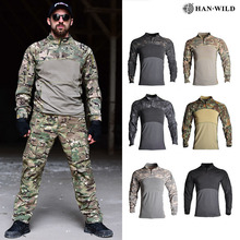 HAN WILD Men Summer Tactical T-shirt Army Combat Airsoft Tops Long Sleeve Military tshirt Paintball Hunt Camouflage Clothing 3XL