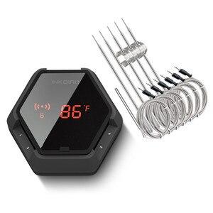 Image 1 - Термометр для печи барбекю Inkbird, Аккумуляторный термометр для печи барбекю с 6 зондами, Bluetooth, подключен к 50 м/150 футов, с магнитным таймером и будильником