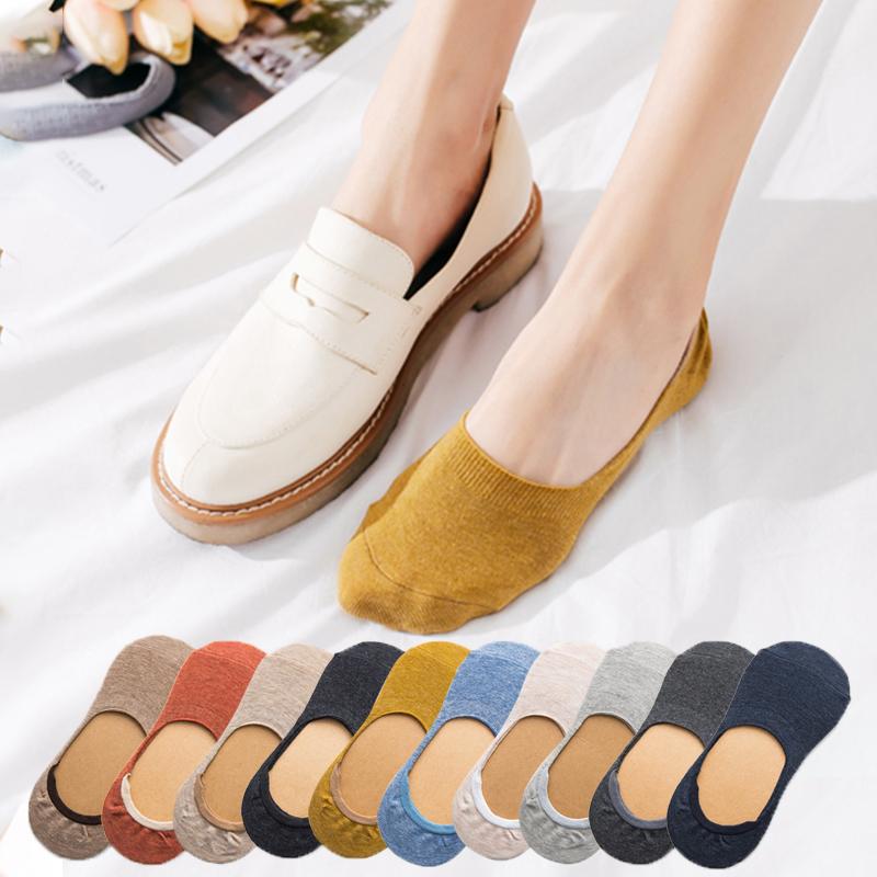 Women Cotton Invisible No Show Socks Non slip Summer Solid Color Fashion Girls Ladies Ankle Thin Slipper Short Boat Socks