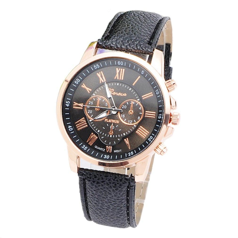 Fashion Brand Unisex Men Male Casual Stylish Romen Numerals Faux Leather Quartz Watch Montre Watches Relojes Mujer