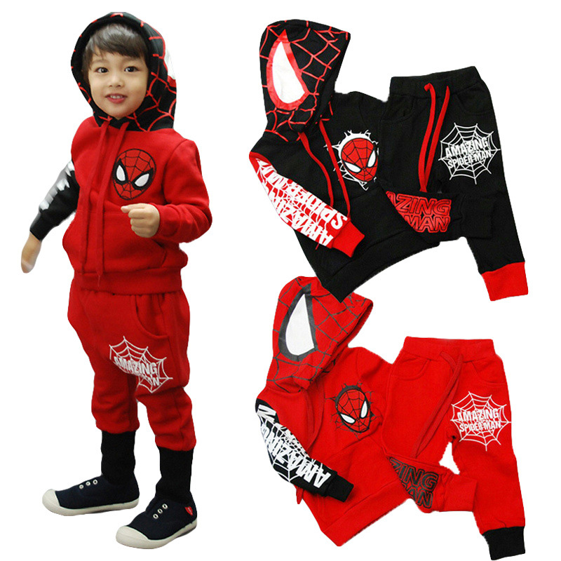 Boy's Clothes Cotton Two-piece Spiderman Performance Clothing Batman Clothes Cartoon Printing Casual Sports Baby Clothing