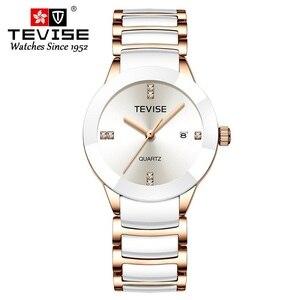 Image 5 - TEVISE T845LS Das Mulheres Relógios Relógio de Quartzo Mulheres Moda Casual Senhoras Cerâmica Relógio Relógio de Pulso À Prova D Água Ferramenta de Correção Dropshipping