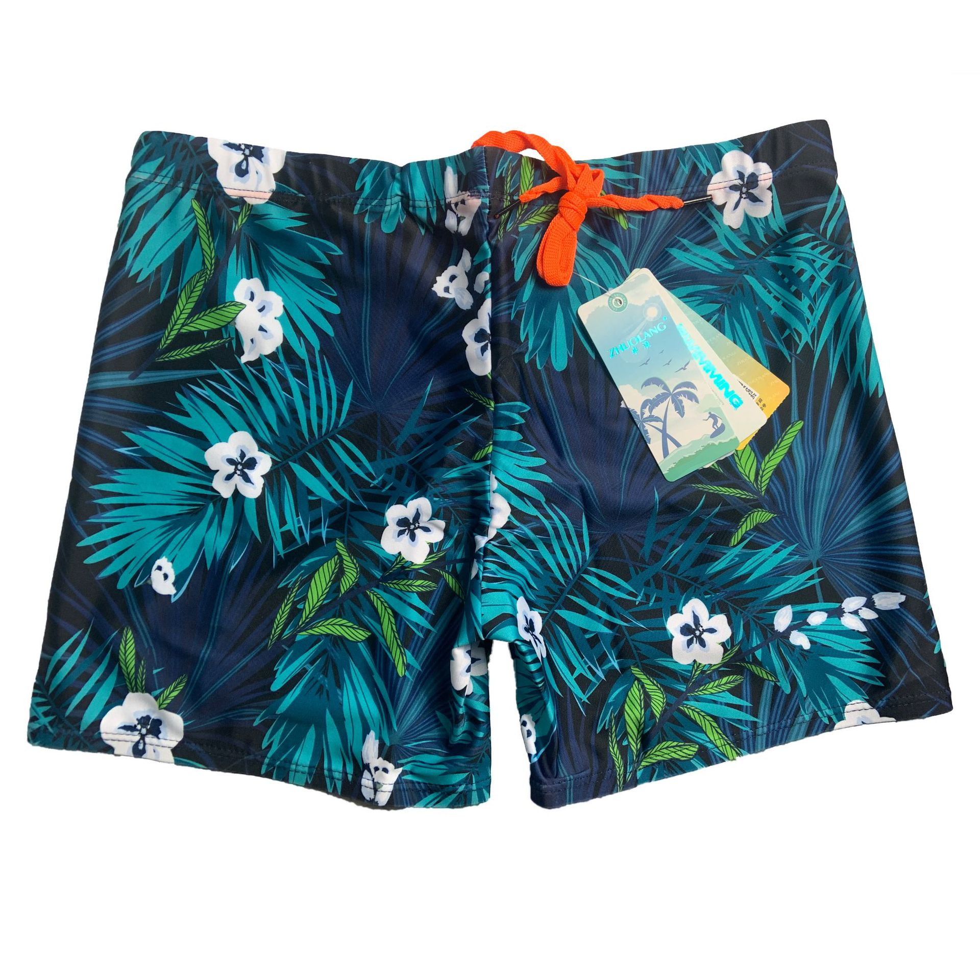 Fashion Full Printed Pattern Men Urethane Elastic Fibre Swimming Trunks Short Men's Swimming Trunks Four Colors Selectable Brand