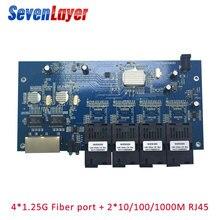 광섬유 스위치 4 1.25G SC 2 1000M RJ45 산업용 그레이드 기가비트 이더넷 스위치 단일 모드 단일 광섬유 PCB