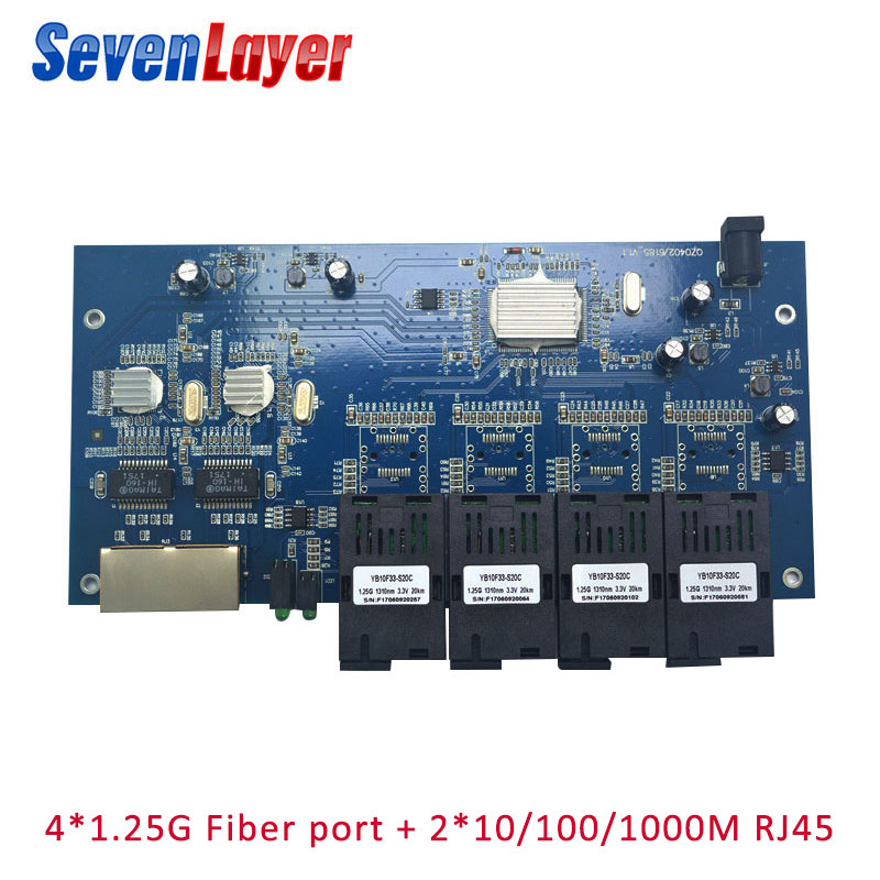 Fiber Optical Switch 4 1.25G SC 2 1000M RJ45 Industrial Grade Gigabit Ethernet Switch  Single Mode Single Fiber PCB