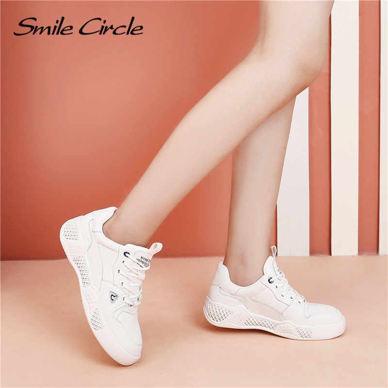 Lächeln Kreis frauen turnschuhe Weiß Flache plattform schuhe Aus Echtem Leder fashion Lace-up casual Student schuhe Frühling