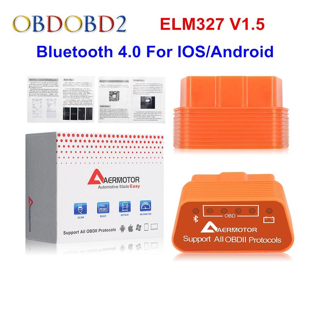 Автомобильный диагностический прибор Aermotor ELM327 V1.5 Bluetooth 4,0 ELM 327 1,5 WIFI OBD2 для Android/IOS OBDII BT V4.0