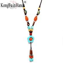 Новинка богемное винтажное длинное ожерелье с кулоном этнические