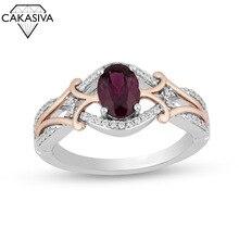 Женщин старинные 925 серебряных AAA Циркон Овальный Аметист двухцветное кольцо 18K Роуз позолоченные обручальное свадебный подарок ювелирных изделий