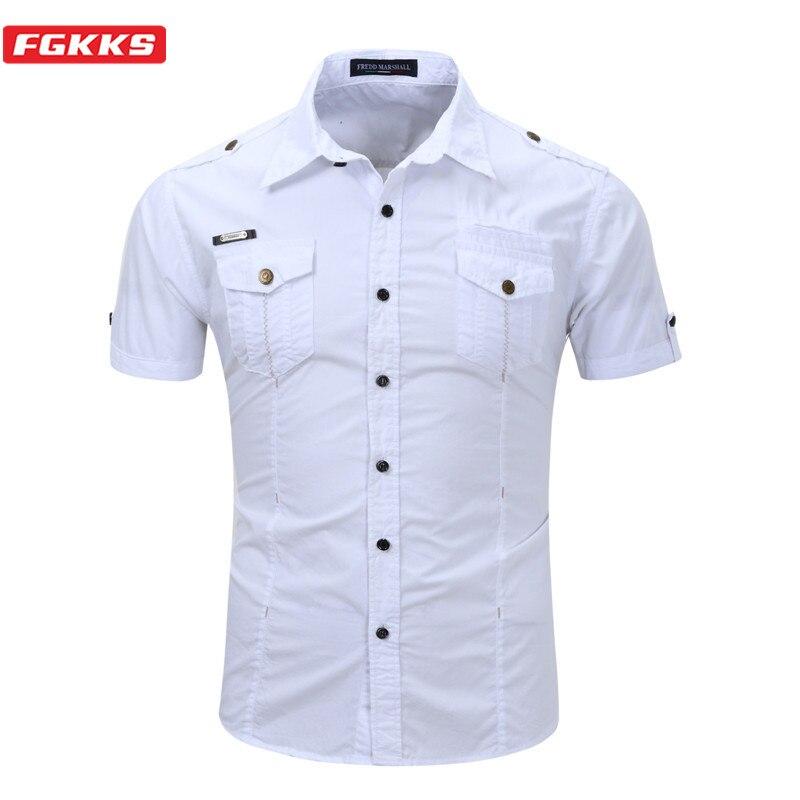 FGKKS Men Short Sleeve Shirts Tops Summer New Men's Solid Wild Shirt Quality Brand Cotton Casual Shirts Male EU Size