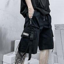 2021 verão shorts calças de carga dos homens harajuku moda streetwear hip hop punk masculino fita techwear esporte roupas militares