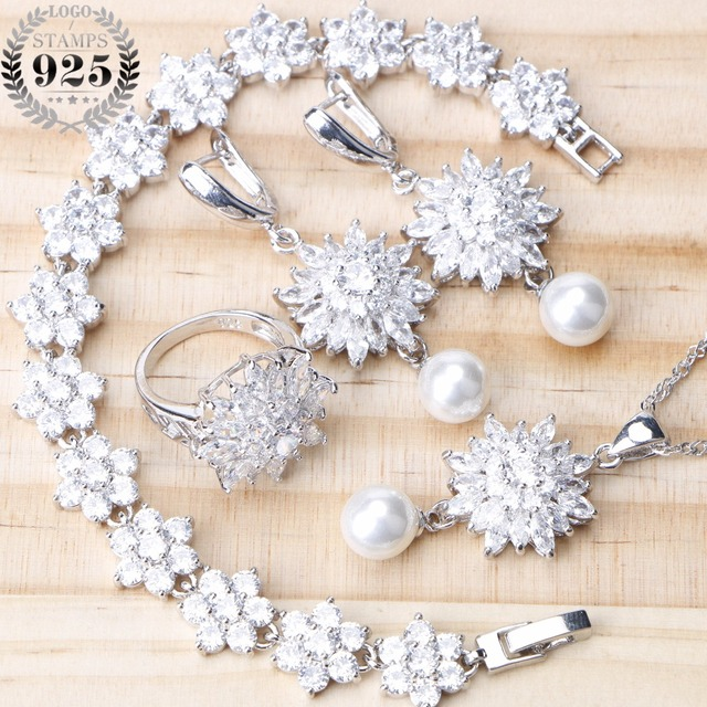 4 Colors 925 Sterling Silver Bridal Pearl Jewelry Sets Earrings For Women Wedding Jewelry With Zircon Bracelet Ring Necklace Set