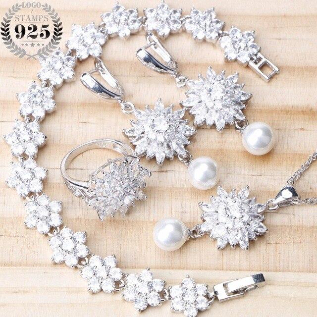 4 Kleuren 925 Sterling Zilveren Bruids Parel Sieraden Sets Oorbellen Voor Vrouwen Bruiloft Sieraden Met Zirkoon Armband Ring Ketting Set