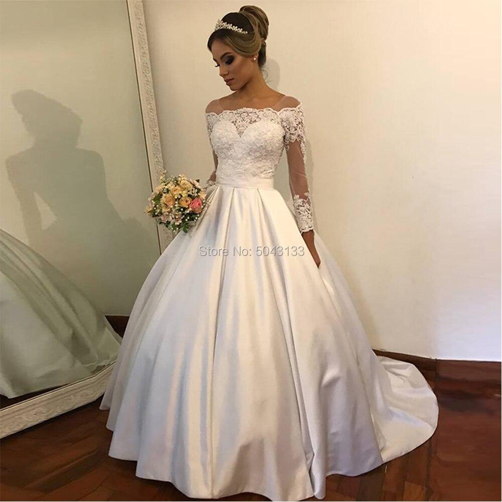 Elegant Satin Wedding Dresses 2020 Vestido De Noiva White Lace Appliques Long Sleeves Buttons Back Bridal Gowns Sweep Train