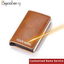 Bycobecy laser lettering wallet 2020 nova liga de alumínio rfid anti-roubo couro do plutônio dos homens carteira titular do cartão de banco carteira