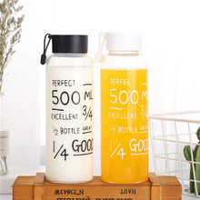 Glass transparent student water bottle hydro flask milk glass drinking set gift for Direct Drinking