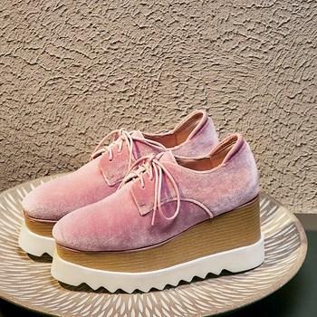 Womens Square Toe Velvet Leather Platform Wedge High Heels Shoes Lace Up Oxfords Black Pink Pumps New C947