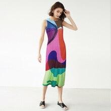 Vintage Dress Miyake Plus-Size Sleeveless Female Print Summer Stitching-Bag Hip TIANPEI