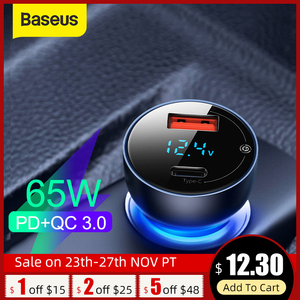 Baseus 65W USB Car Charger Quick Charge 3.0 Car Charger For iPhone MacBook Samsung Laptop LED Display Fast Phone Charger