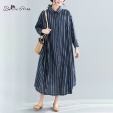 BelineRosa European Casual Style Striped Loose Long Blouse Dresses Sleeve Big Sizes Women Clothing SYWY0008