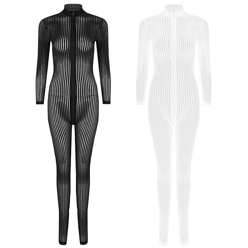 Hde2410dc905144cda363144208626254T - XS-8XL Women Black Striped Sheer Bodysuit Smooth Fiber 2 Zipper Long Sleeve Jumpsuit