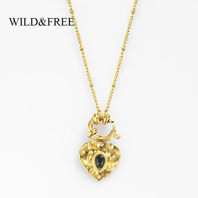 Selvagem & livre feminino adorável coração pingente colar vintage aço inoxidável contas de ouro corrente círculo encantos pedra natural colares