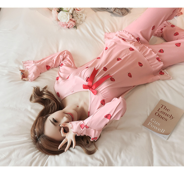 Autumn Women Cotton Pajamas Sets 2 Pcs Cartoon Printing Pijama Pyjamas Long Sleeve Bowknot Pyjama Sleepwear Sleep Set 57