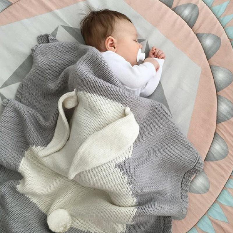 100% acryl Baby Gestrickte Decke Lustige Kaninchen Neugeborenen Milestone Swaddle Wrap Kinder Spielen Matte Schlafsack Outdoor Kinderwagen Abdeckungen
