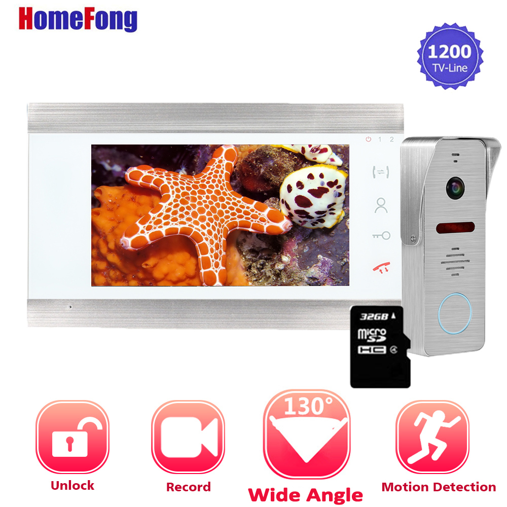 【Upgraded】Homefong 7 Inch  Video Intercom Doorbell Camera Wired 1200TVL Wide Angle Motion Recording Door Phone System