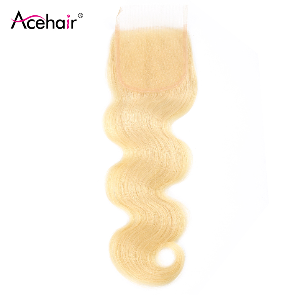 Ace Hair 4x4 Body Wave Lace Closure 10-22Inch Malaysian Remy Blonde 613 Color Human Hair Closure Bleached Knots Free/Middle Part image