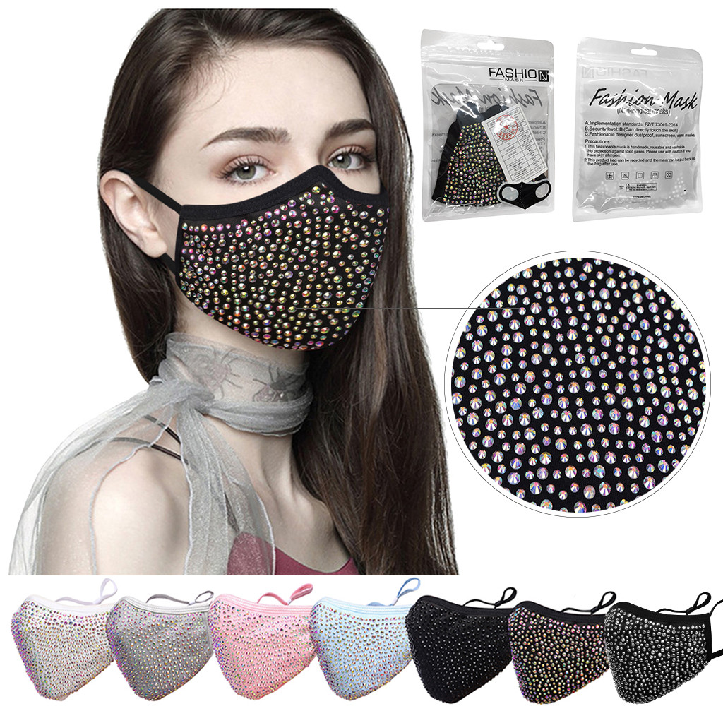 Nightclub Party Reusable Halloween Masquerade Rhinestone Crystals Face-mask For Women Outdoor Party Supplies Protect-face-mask