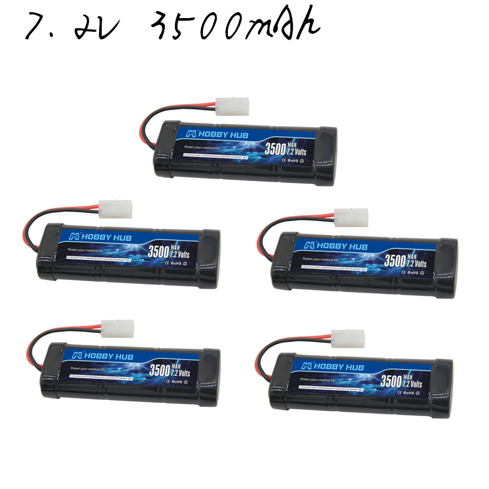 Hobby Hub SC*6 Cells Rechargeable <font><b>Batteries</b></font> 7.2V 3500mAh Ni-MH with Tamiya Discharge Connector for RC Racing Cars Boats image