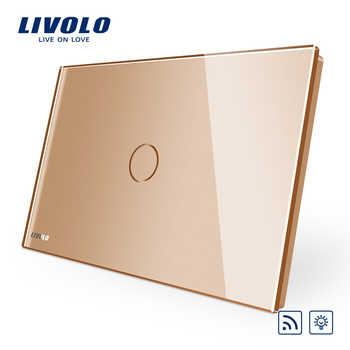 Livolo AU US standard Gold Crystal Glass Panel, 110~250V,Wireless Remote Control Curtain Switches,curtain dimmer remote switch
