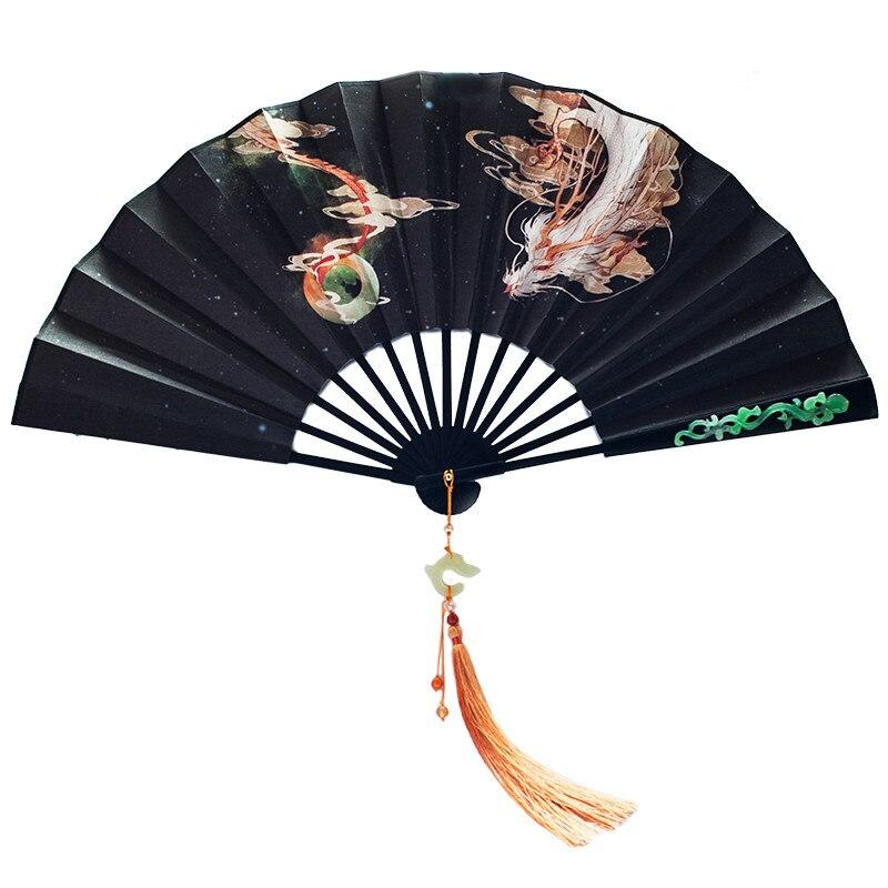 Classical Men Folding Fan Chinese Vintage Folding Hanfu Anime Cosplay Fan Japanese Silk Hand Fan Portable Abanicos Para Boda