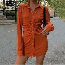 Женское платье рубашка newasia осеннее шикарная на пуговицах