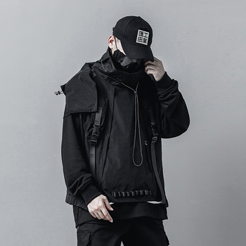 Male High Street Hip Hop Tooling Coat Waistcoat Outerwear Men Pullover Hooded Sleeveless Cargo Jacket Vest Removable Hat