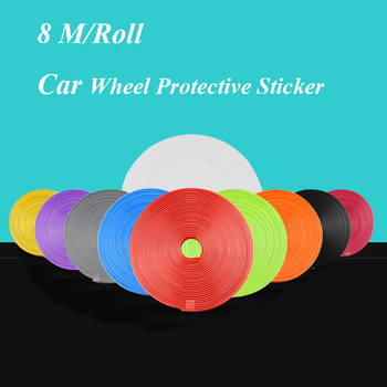 Fashion 6 Colors Universal Car-styling Vehicles 8 Mm Wideth Prevent Scratches TPE 8 M/Roll Wheel Rim Protector Sticker Car Hub T image