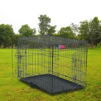 fence-for-dogs-aviary-for-pets-fitting-30-pet-folding-wire-cage-double-door-cat-dog-cage-with-barrier-and-plastic-tray-black